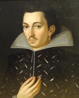 Large 16th Century French Old Master Noble Gentleman Court Portrait Antique