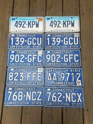 10 Connecticut License Plate Lot -  Expired Markers Tags CT Conn pairs, plates