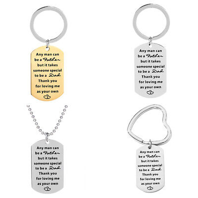 CO_ Letters Carved Tag Pendant Necklace Key Ring Holder Keychain Father's Gift M