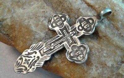 ANTIQUE 19th CENTURY SOLID SILVER 76 RUSSIAN ORTHODOX ORNATE HAND-CARVED CROSS
