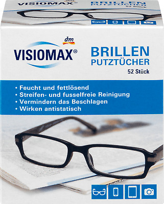 VISIOMAX Germany Glasses Cleaning Cloths 52 pcs Pre-Moistened Glasses Wipes