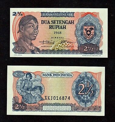 INDONESIA 2.5 Rupiah 1968 + 1, 5, 10 AND 50 SEN 1964  LOT 5 DIFFERENT BANKNOTES