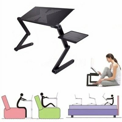 360° Angle Adjustable Notebook Laptop Desk Aluminum Table Stands Bed Mouse Tray