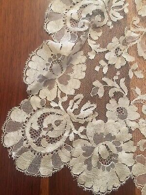 Vintage Antique Lace Veil Tiered Mantilla Champagne Wedding Bridal Stunning Rare