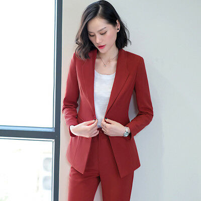 Lunga Donna Giacca Completo Slim Elegante Rosso Manica Tailleur qwTtCgxII