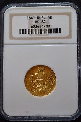 Russian Gold Coin 5 Rouble Roubles 1841 Russia Rare NGC MS64