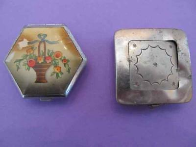 Lot (2) Vintage Powder Compacts Vanity Silver tone Art Deco As-Is Many Pictures