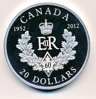 Canada 20 Dollars  2012 Royal Cypher 60Th Jubilee  -  Proof  .999 Silver