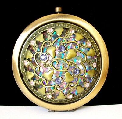Lovely New Bronze-Tone Dimensional Round Compact Mirror w/Pear Design/Crystals