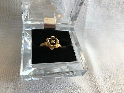 Vintage Flower 14 kt gold electroplated ring, size 5, from late 70's