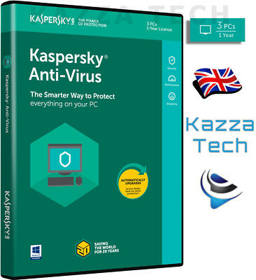 Kaspersky ANTI-VIRUS 2019 - 3 PC User 1 Year GENUINE NEW UK Retail Sealed! KAV