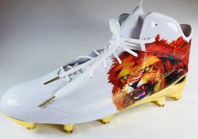 wholesale dealer e86fb dbdc8 New Adidas Adizero 5-Star Mid Uncaged Lion Football Cleats White gold Sz 16
