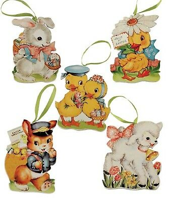 Bethany Lowe Set of 5 Different Retro Easter Ornaments RL6557 Retro Look New