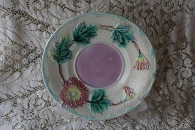 """Antique English Majolica Saucer Plate Pink Yellow Flowers  9"""""""