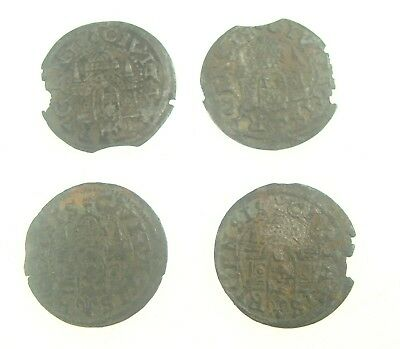 Lot of 4 Old Medieval Livonia Riga Shilling Silver Coins 1577 Nice ones  Nr 9176