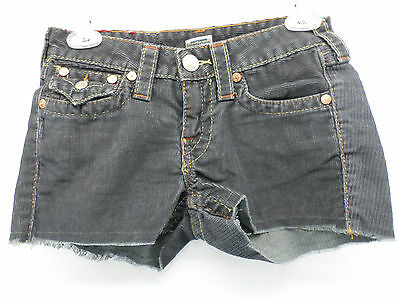 TRUE RELIGION 37 Charcoal Gray Corduroy Cut-Off Shorts Floral Patch Size 26