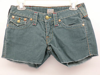 TRUE RELIGION 39 Ash Blue Corduroy Cut-Off Shorts Fabric Brand Patches Size 28