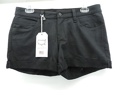 LUCKY BRAND 32 Cuffed Black Cotton Casual Shorts Sewn Brand Patch Size 30