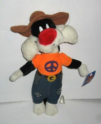 Play By Play Looney Tunes Sylvester the Cat Denim Pants Peace Sign Hat Plush 15""