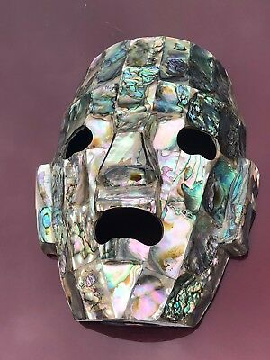 Aztec Mayan Mother Of Pearl Face Mask Sculpture
