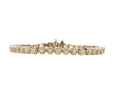 14 K 585 Gelb Gold 1,80 ct Diamant Brillant Tennis Memory Armband 17,5 cm!