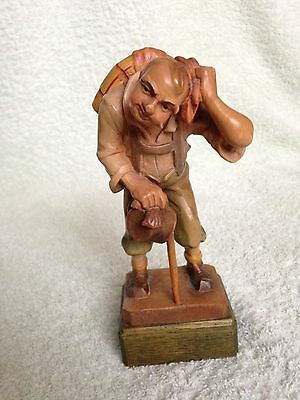 Vintage Black Forest Wooden Figurine - ANRI Carving - Walker