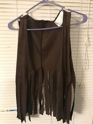 Halloween Hippie Costume Fringe Vest Peace Buttons One Size