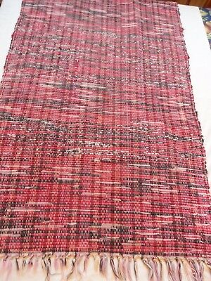 "Vintage Primitive Farm Country Woven Area Rag Rug RUNNER  26"" x 48"" wide Clean"