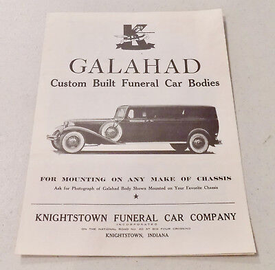 Antique 1930s Knightstown Galahad Funeral Car Hearse Brochure Catalog