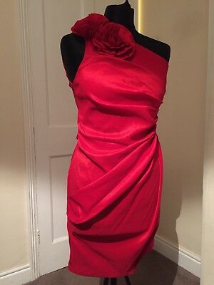 Red Cocktail Dress One Shoulder Size 10 New With Tags Bnwt
