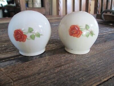 Vintage Universal Cambridge Cream Rose Pattern Salt and Pepper Shakers