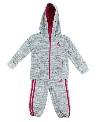 Adidas Girls 2 Piece Jacket & Pants Tracksuit Set Light Grey/Pink