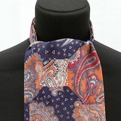 Vintage navyblue orange paisley patchwork design Tootal Grosvenor mod Cravat (3)