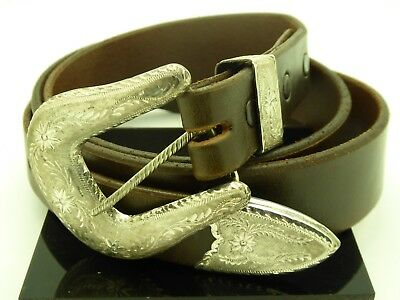 Silver King Chatsworth Leather Hand Tooled Belt Sterling Silver Belt Buckle Set