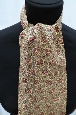 Vintage yellow paisley design stylish Tootal mod Cravat (vv8)