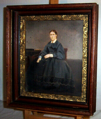 Antique Painting / Photograph of Spooky Stern Woman