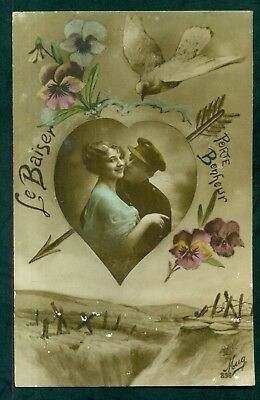 """WW1 French Soldier w/Girl """"The Kiss Brings Good Luck"""" Postcard"""