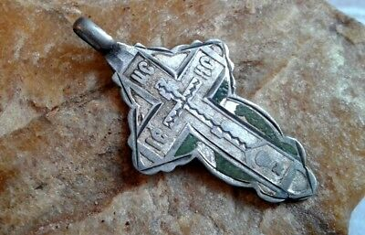 "ANTIQUE 19th CENTURY SOLID SILVER 84 RUSSIAN ORTHODOX ""SKULL"" CROSS with ENAMEL"