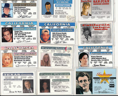 Lot Of 12 Novelty Driver's Licenses Clint Eastwood - Will Smith - Frank Sinatra