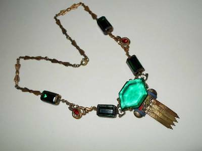 Vintage Art Deco Egyptian Revival Green Glass & Rhinestone Enamel Brass Necklace
