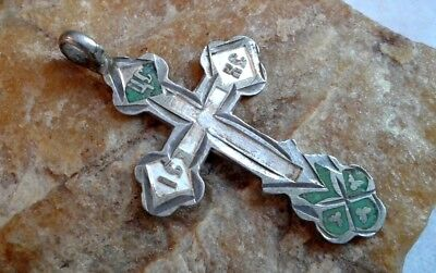ANTIQUE 19th CENTURY SOLID SILVER 84 RUSSIAN ORTHODOX ORNATE CROSS with ENAMELS