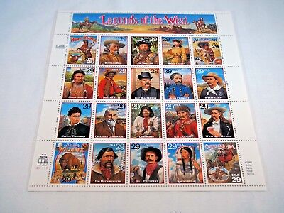 1994 Scott 2869 Legends of the West 20- 29 cent stamp souvenir plate block