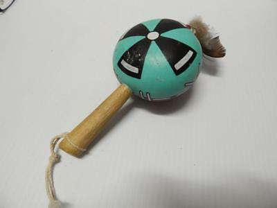 Child Sz Vintage Hopi Pueblo Indian Kachina Dance Gourd Tribally Used Rattle Nr