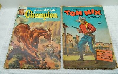 Tom Mix Western #5 Golden Age Fawcett-Dell1948-Gene Autry's Champion #3 Lot of 2