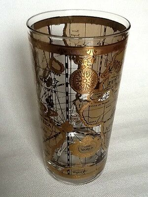 """""""CERA"""" Mid Century 22K Gold Embossed High Ball Glass """"Old World Map"""""""