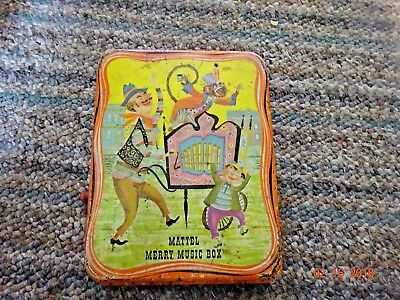 "Vintage Mattel Merry Music Box Metal Tin 1962 ""Decor"" By Louis Song"