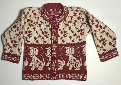 Vintage Children's Cardigan Sweater Red And Beige Dalmation Dog Wool