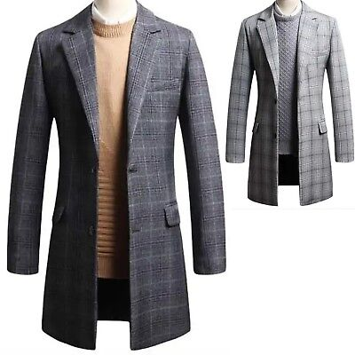 New Mens Cation Classic Check Long Coat Blazer Jacket Jumper Suit Outwear W089