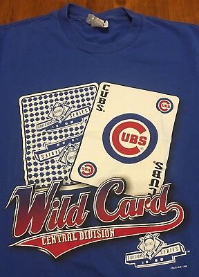 Vintage 1990s Chicago Cubs T-Shirt LARGE Blue Wild Card Division Series MLB