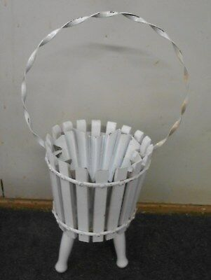 vintage wood w metal insert patio garden flower pot planter chippy white paint